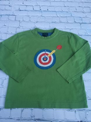 Mini Boden green long sleeved top with applique dartboard age 5-6